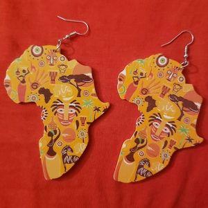 African inspired art on wood earrings